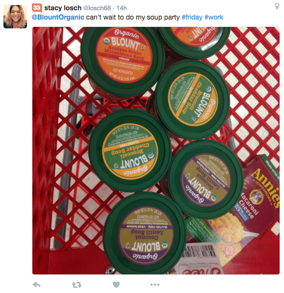Tweet from Stacy Losch about Blount Organic soup